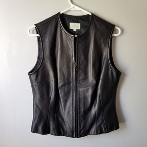Cache 100% genuine black leather vest size 10